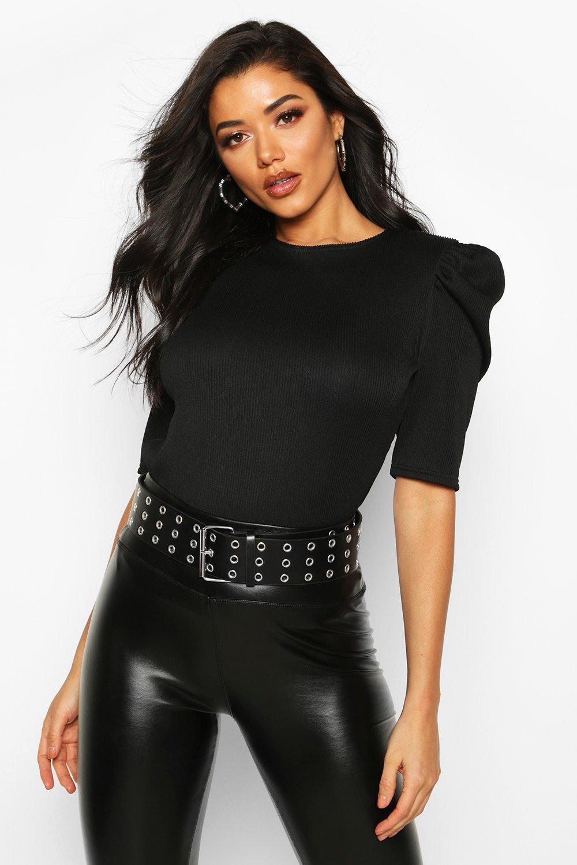 Womens Pleated Puff Sleeve Top - black - 32, Black - Boohoo.com