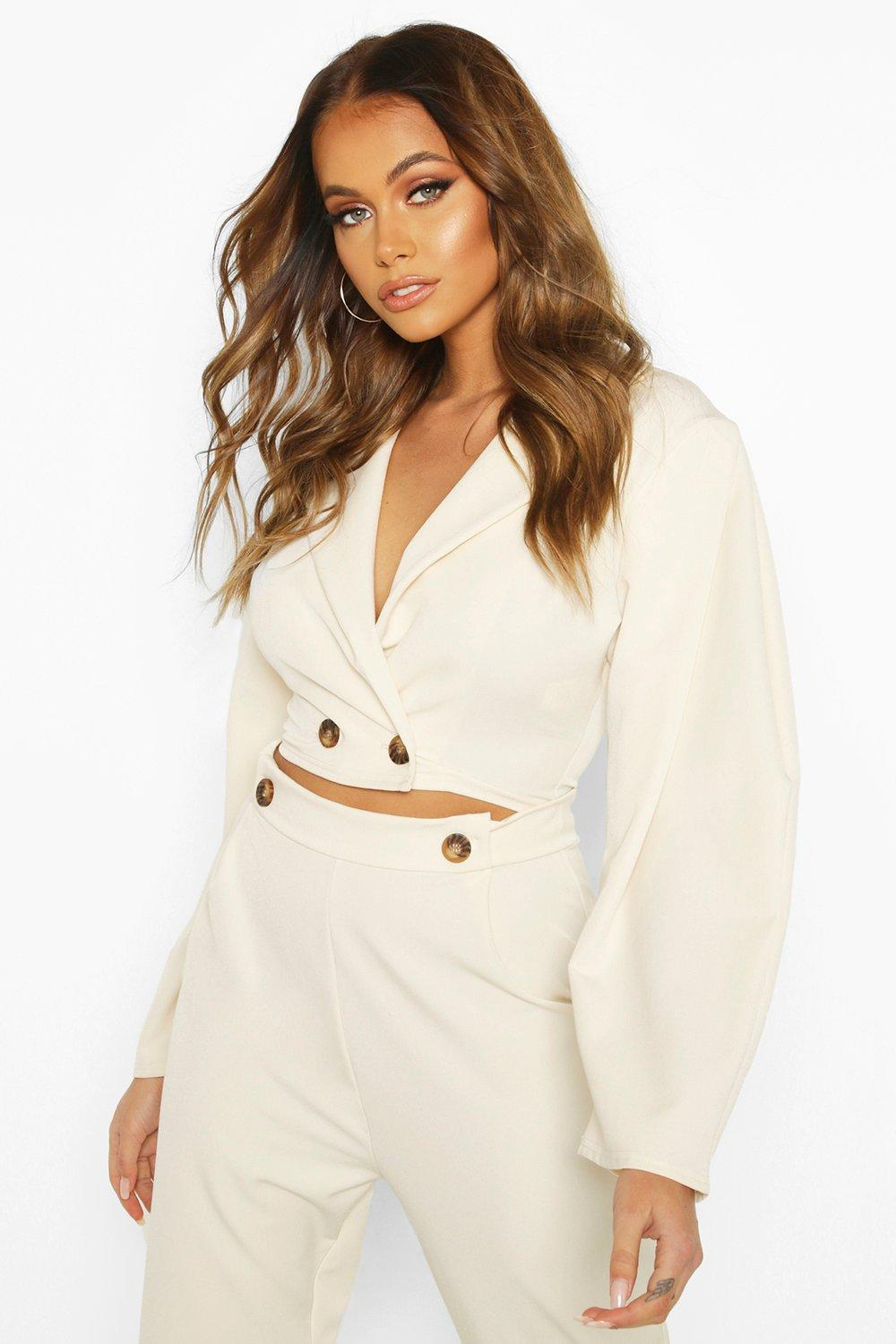 boohoo Extreme Puff Sleeve Woven Crop Jacket - Cream - 12, Cream