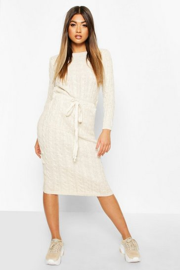 Stone Cable Knit Midi Dress