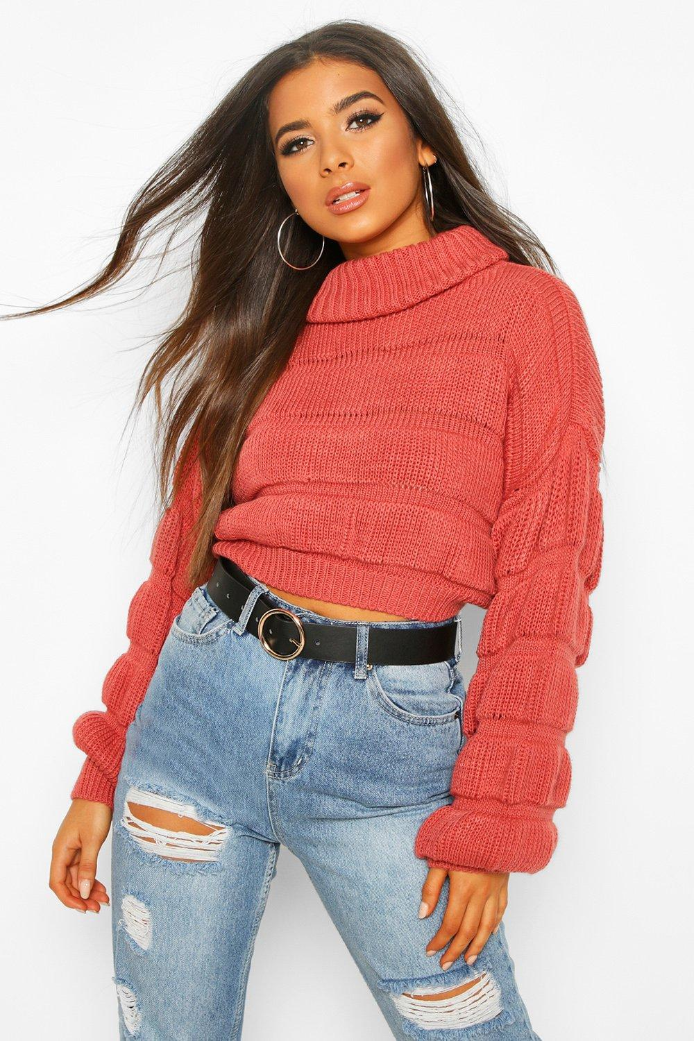 Womens Bubble Knit Cropped Jumper - rose - S/M, Rose - Boohoo.com