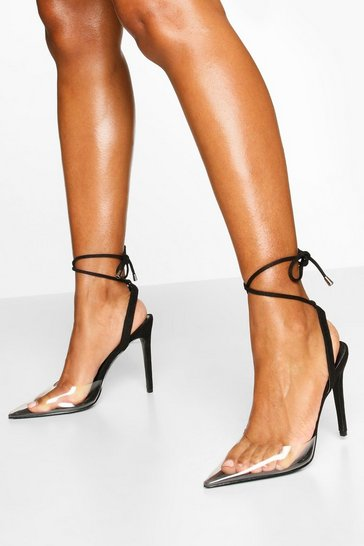 Black Pointed Clear Ankle Wrap Courts