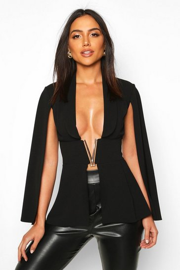 Black V-Bar Tailored Peplum Top