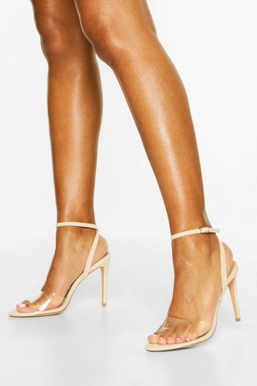 Nude Clear Strap Stiletto 2 Part Heels