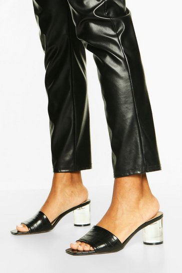 Black Clear Heel Square Toe Mules