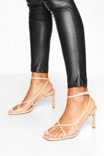Nude Strappy Square Toe Heel Sandals
