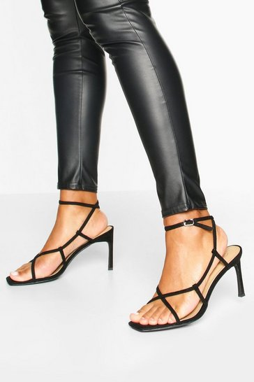 Black Strappy Square Toe Heel Sandals