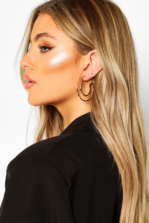 boohoo Womens Cut Out Hoop Earrings - Metallics - One Size, Metallics