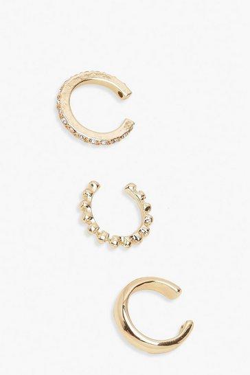 Gold 3 Pack Textured & Diamante Ear Cuffs