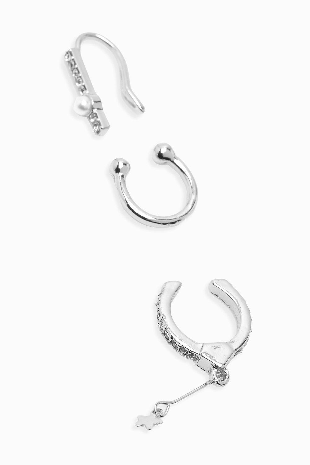 boohoo Womens 3 Pack Diamante & Star Pendant Ear Cuffs - Grey - One Size, Grey