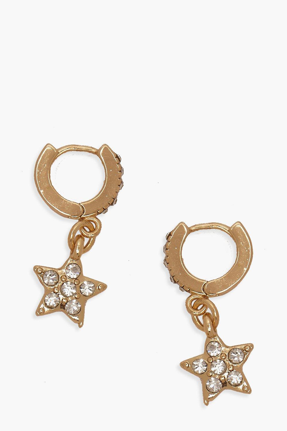 boohoo Womens Diamante Star Huggie Hoop Earrings - Metallics - One Size, Metallics
