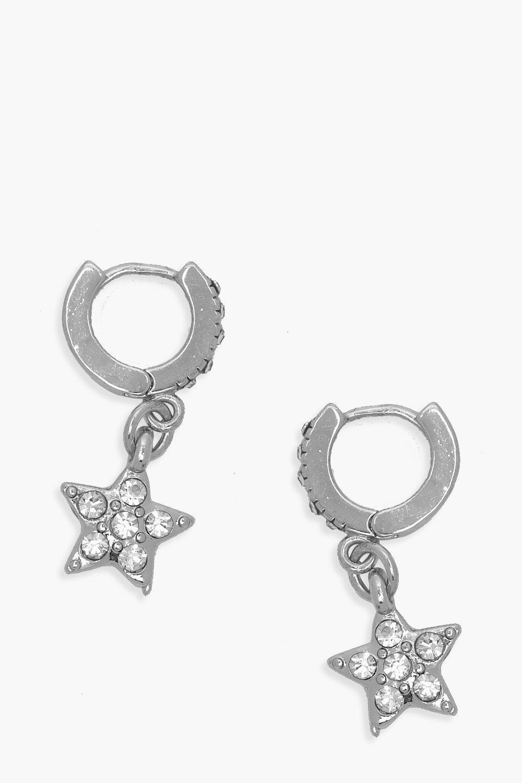 boohoo Womens Diamante Star Huggie Hoop Earrings - Grey - One Size, Grey