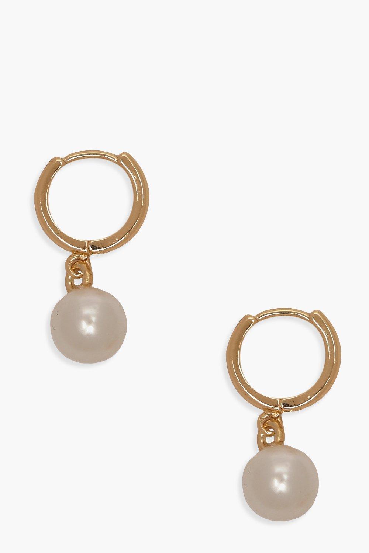 boohoo Womens Pearl Pendant Huggie Hoop Earrings - Metallics - One Size, Metallics