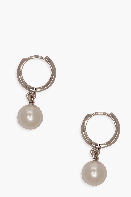 boohoo Womens Pearl Pendant Huggie Hoop Earrings - Grey - One Size, Grey