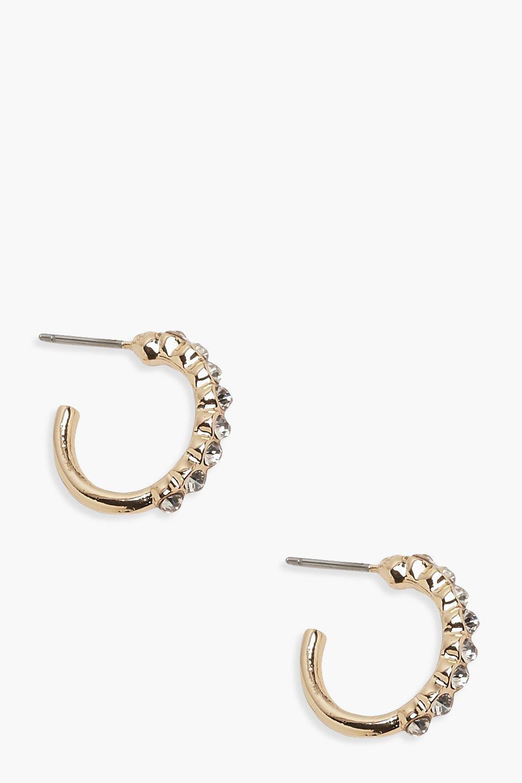 boohoo Womens Diamante Huggie Hoop Earrings - Metallics - One Size, Metallics