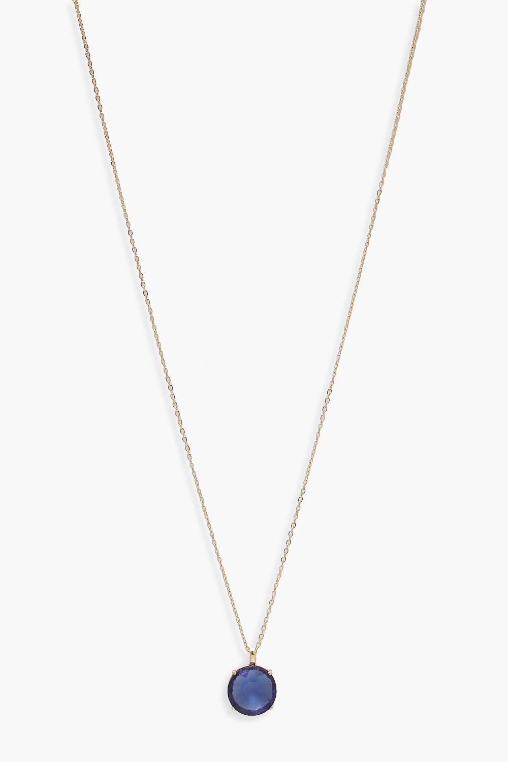 boohoo Womens December Birthstone Pendant Necklace - Blue - One Size, Blue