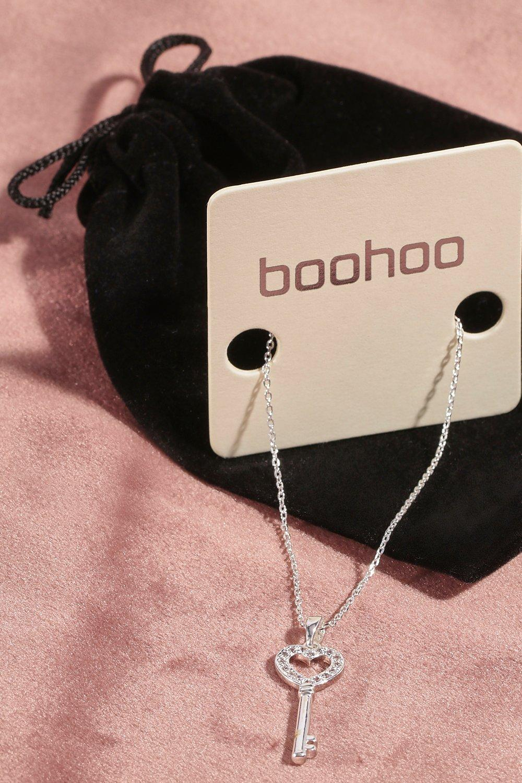 boohoo Womens Premium Cubic Zirconia Key Necklace & Pouch - Grey - One Size, Grey