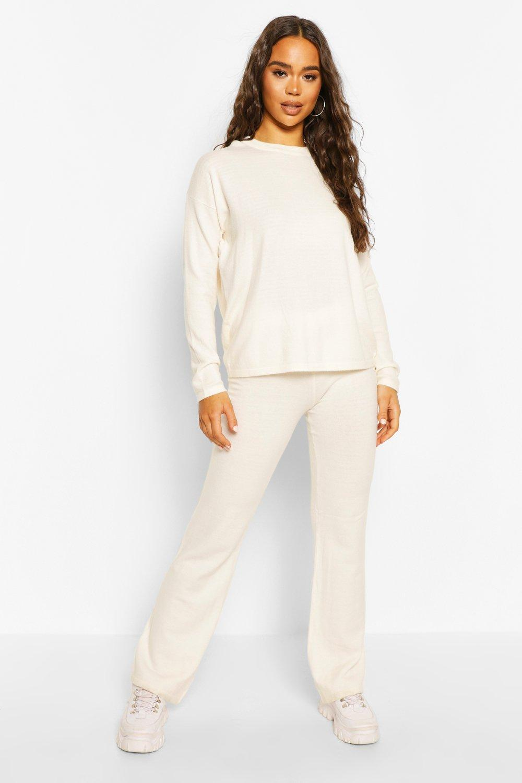 Womens Jumper & Trouser Set - Cream - M, Cream