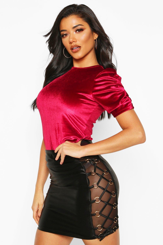 Womens Velvet Puff Sleeve Top - berry - 32, Berry - Boohoo.com