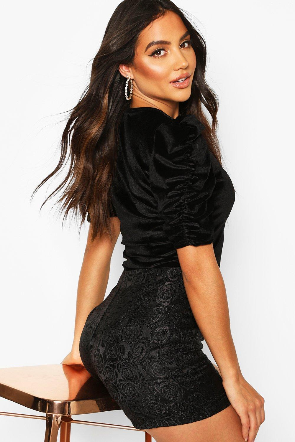 Womens Velvet Puff Sleeve Top - black - 38, Black - Boohoo.com