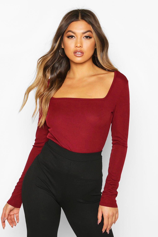 Womens Square Neck Long Sleeve Top - berry - 32, Berry - Boohoo.com