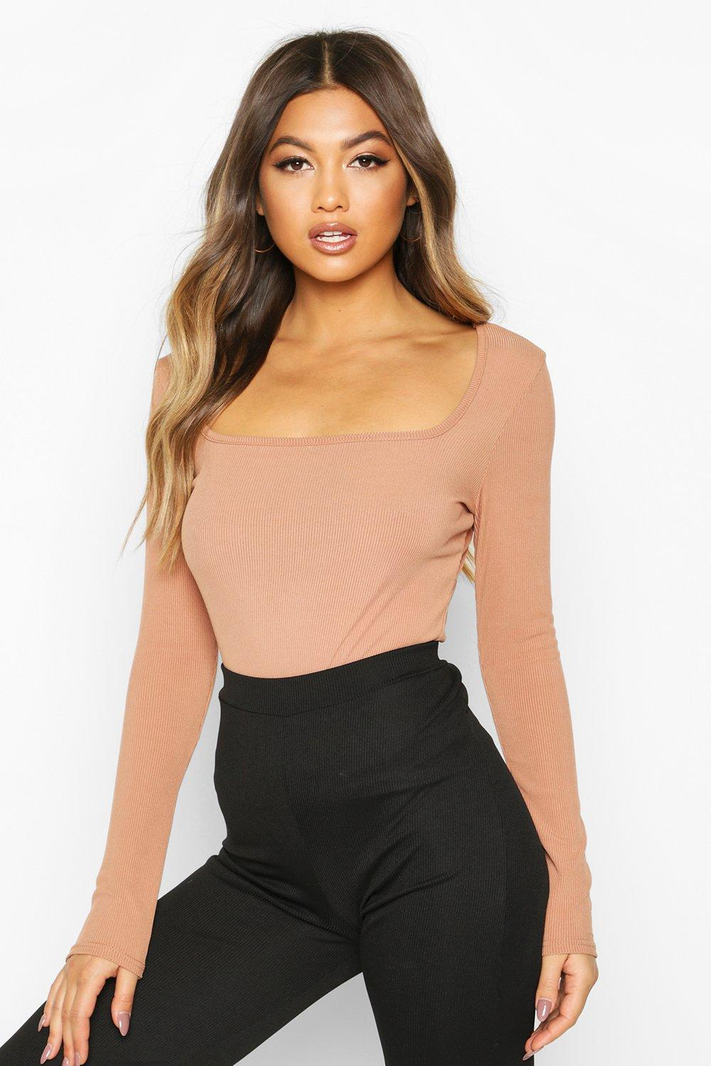 Womens Square Neck Long Sleeve Top - camel - 34, Camel - Boohoo.com