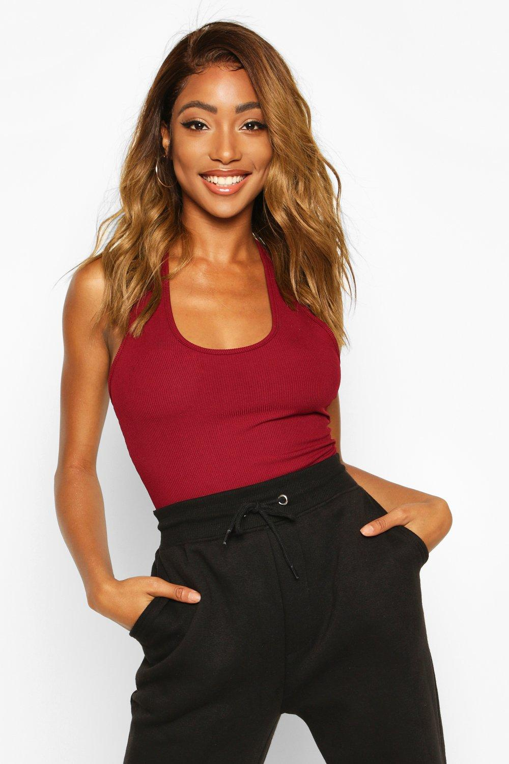 Womens Ribbed Plunge Neck Bodysuit - berry - 32, Berry - Boohoo.com