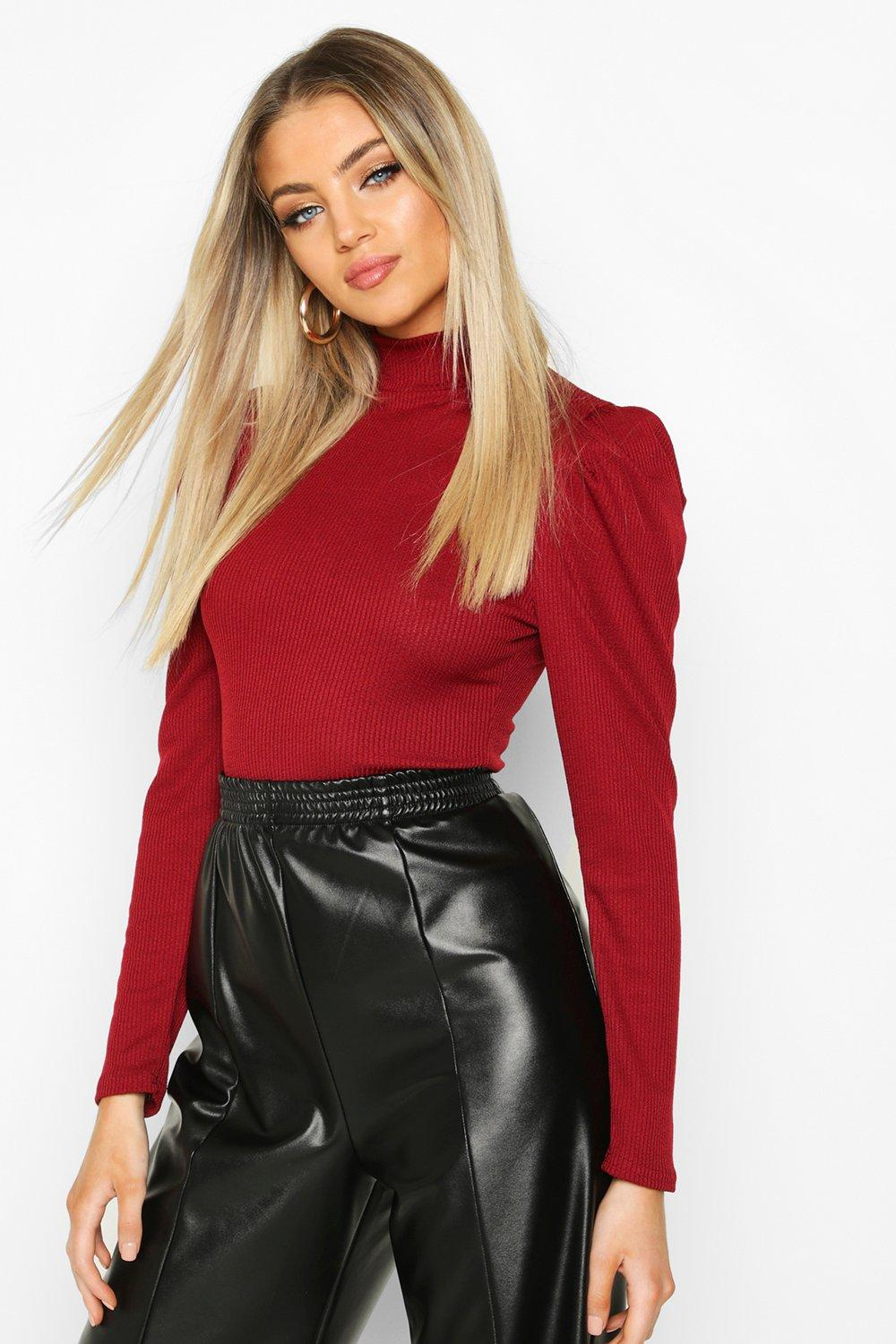 Womens High Neck Puff Sleeve Ribbed Top - berry - 32, Berry - Boohoo.com