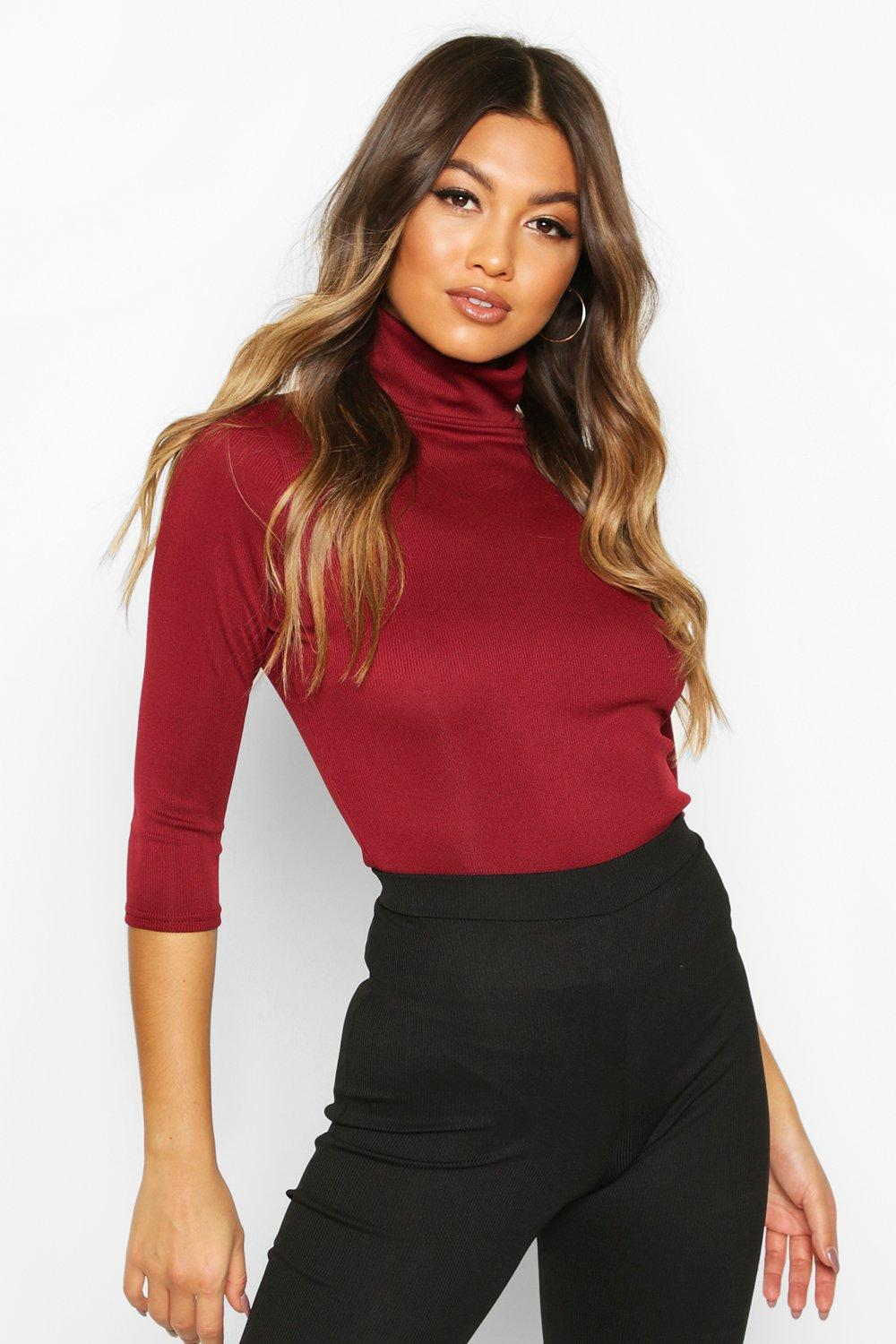 Womens Ribbed roll/polo neck 3/4 Sleeve Top - berry - 32, Berry - Boohoo.com