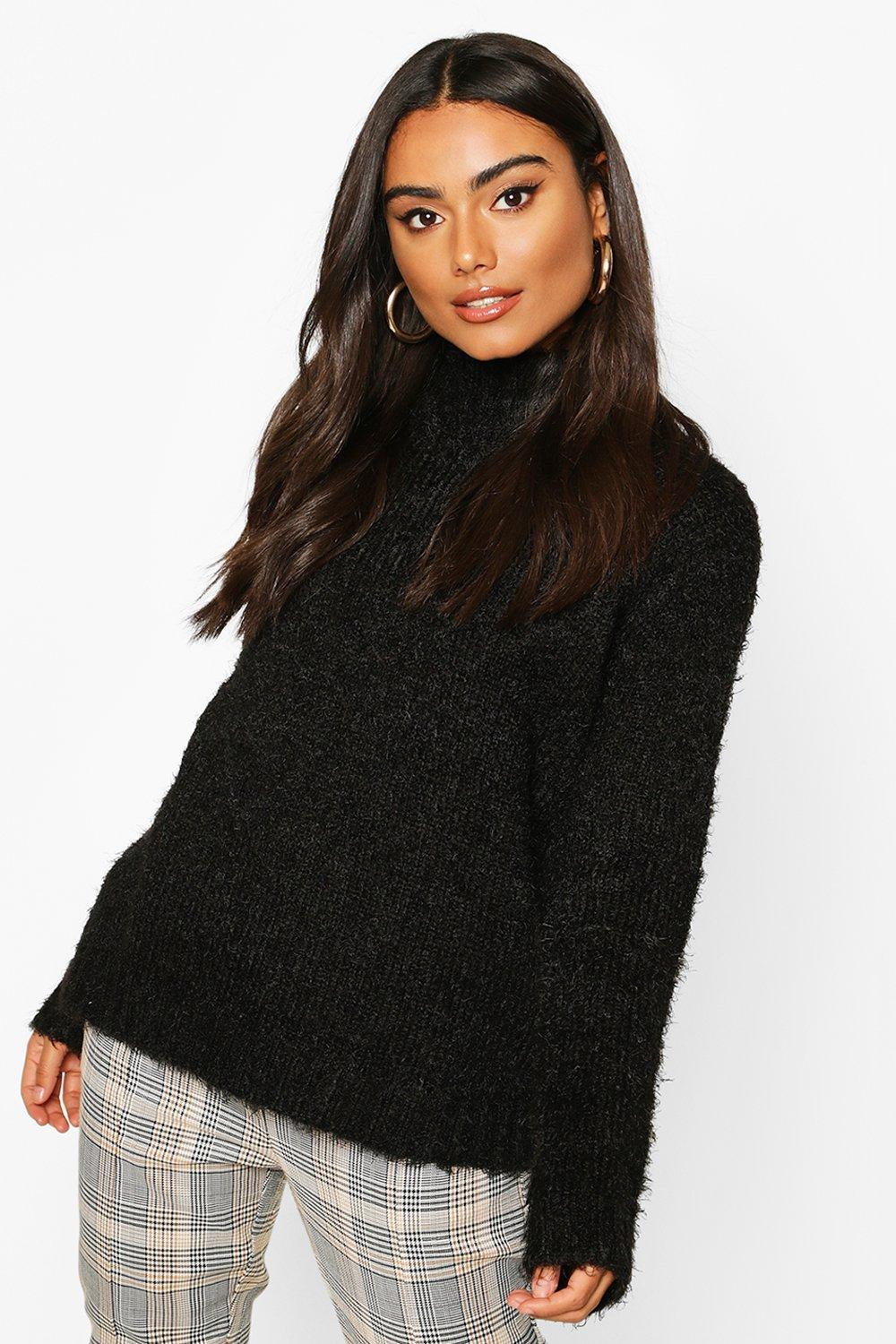Don't Miss Out Feather Yarn Turtle Neck Jumper