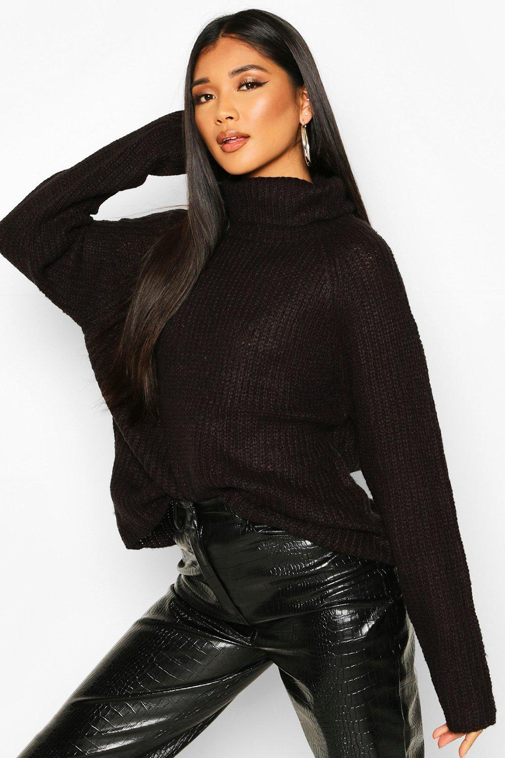 Womens Loose Roll Neck Jumper - black - XS, Black - Boohoo.com