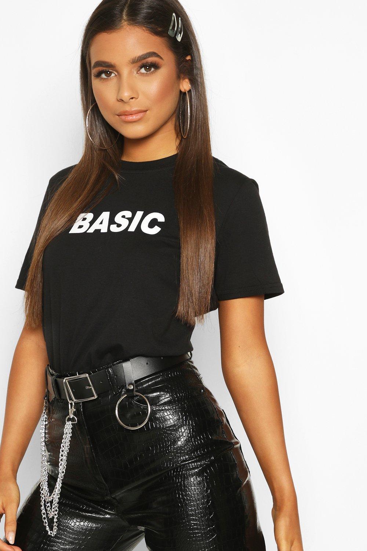 Womens Basic Slogan T-Shirt - black - 34, Black - Boohoo.com
