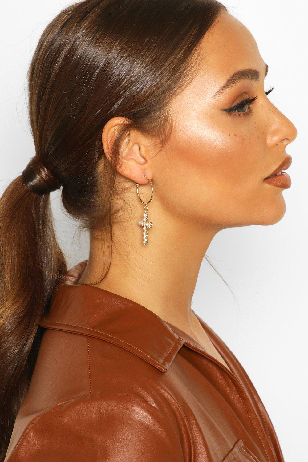 boohoo Womens Pearl Cross Statement Earrings - Metallics - One Size, Metallics