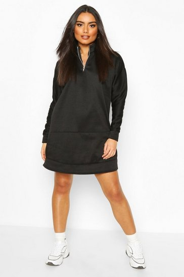 Black High Neck Zip Pocket Sweatshirt Dress