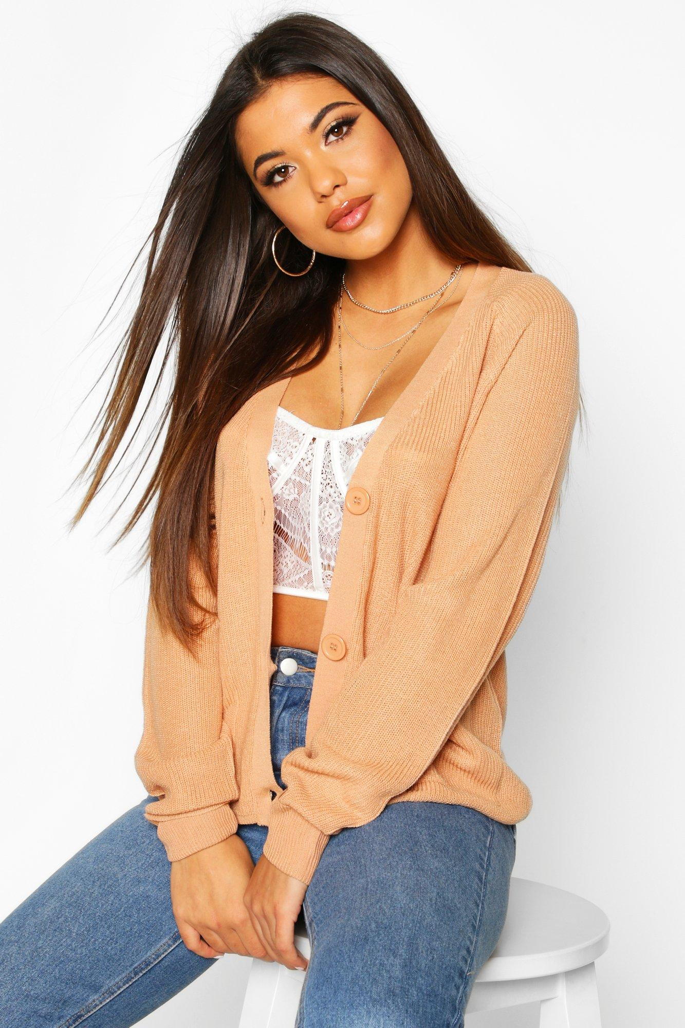 Womens Lightweight Fisherman Rib Cardigan With Pockets - camel - S, Camel - Boohoo.com
