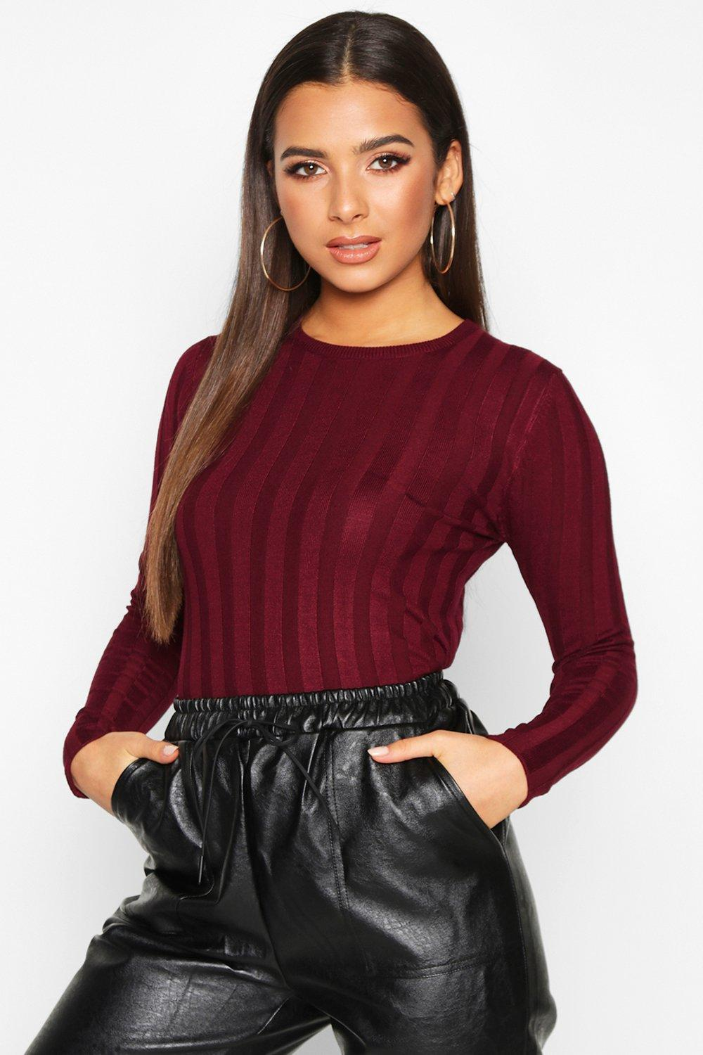Womens Ribbed Crew Neck Slim Fit Top - berry - XS, Berry - Boohoo.com