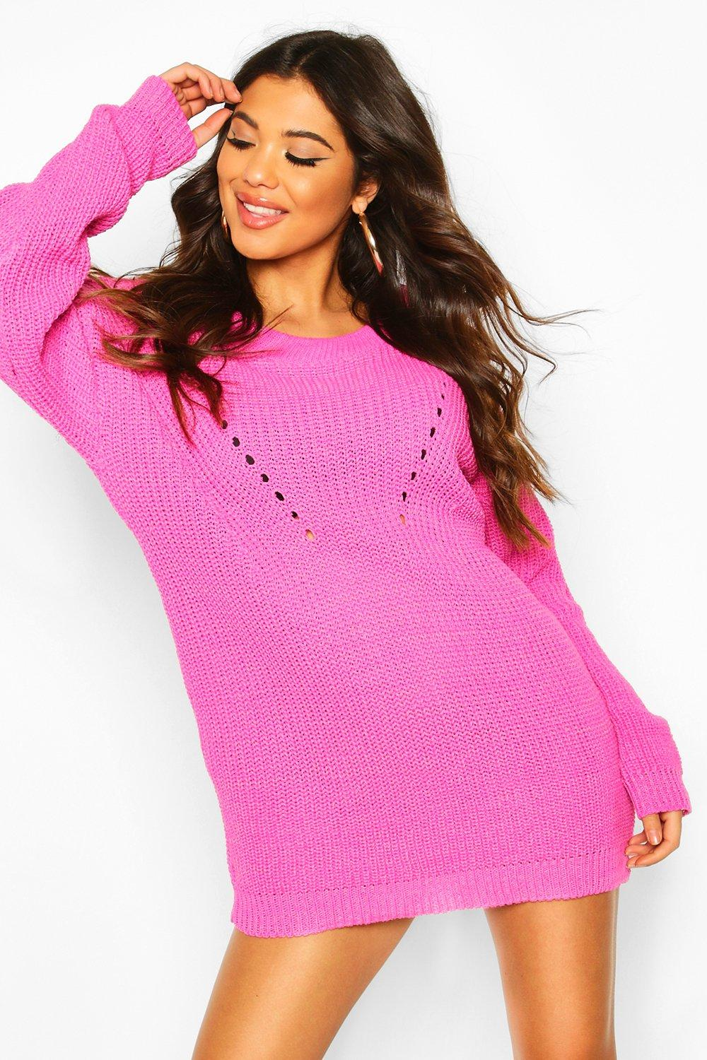 Womens roll/polo neck Knitted Dress - pink - S, Pink - Boohoo.com