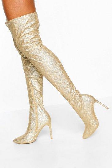 Glitter Stiletto Heel Over The Knee Boots