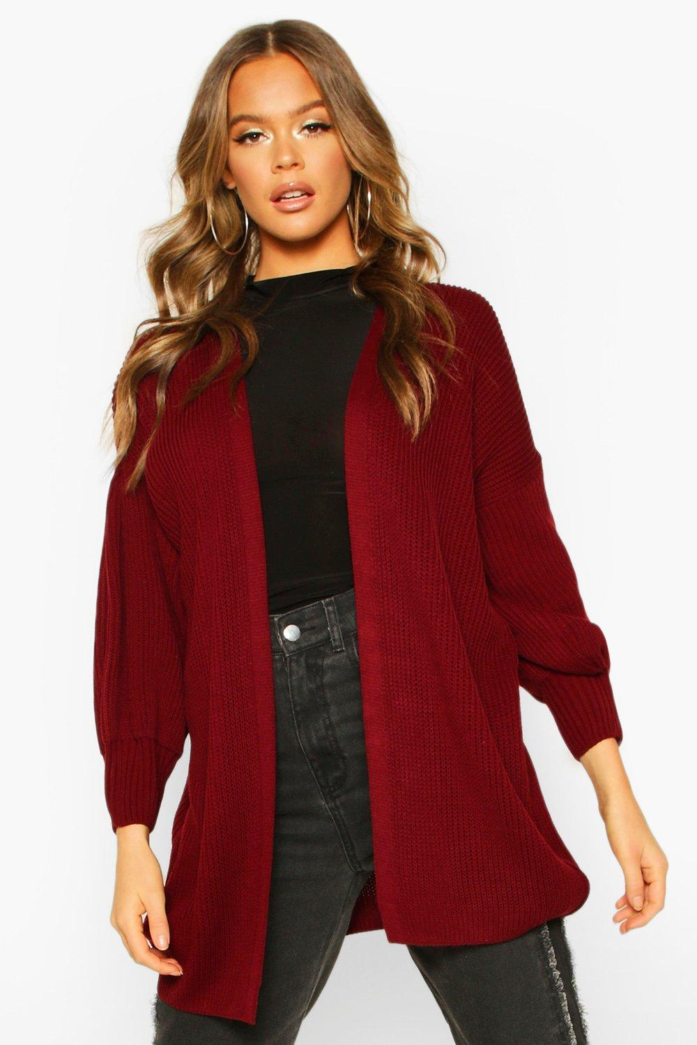 Womens Balloon Sleeve Knitted Cardigan - berry - S, Berry - Boohoo.com