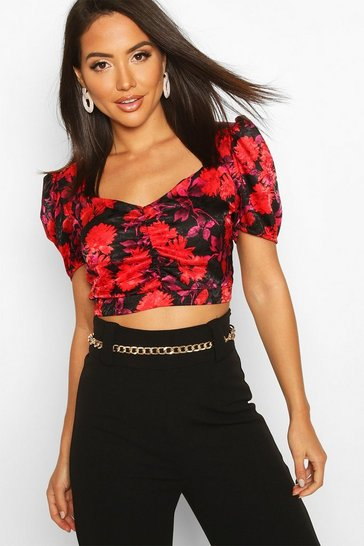 Red Satin Jacquard Puff Sleeve Wrap Blouse