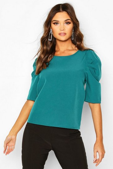 Teal Woven Puff Sleeve Shell Top