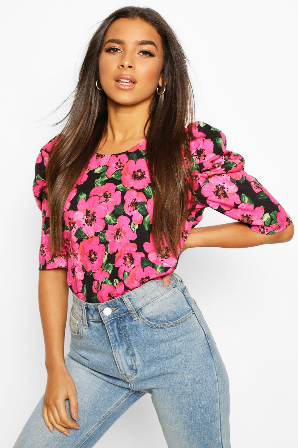 Womens Floral Puff Sleeve Shell Top - pink - 32, Pink - Boohoo.com