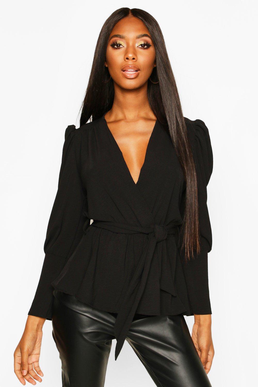 Womens Puff Sleeve Wrap Blouse - black - 32, Black - Boohoo.com