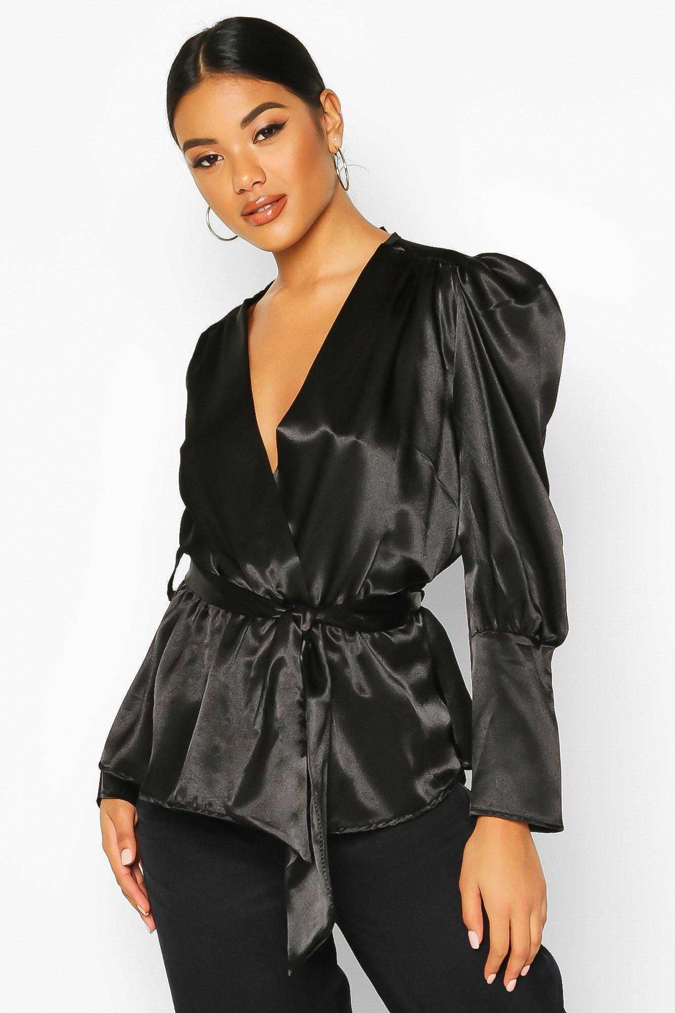 Womens Satin Puff Sleeve Wrap Top - black - 32, Black - Boohoo.com