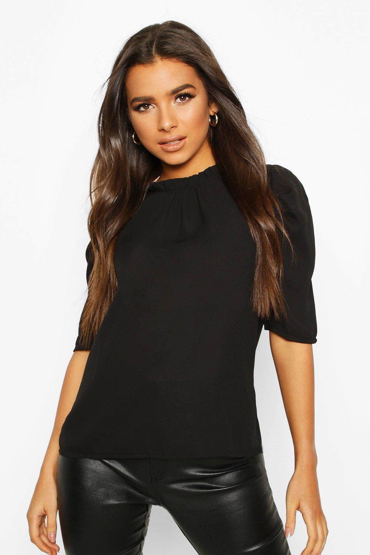 Womens High Neck Ruffle Detail Puff Sleeve Top - black - 32, Black - Boohoo.com
