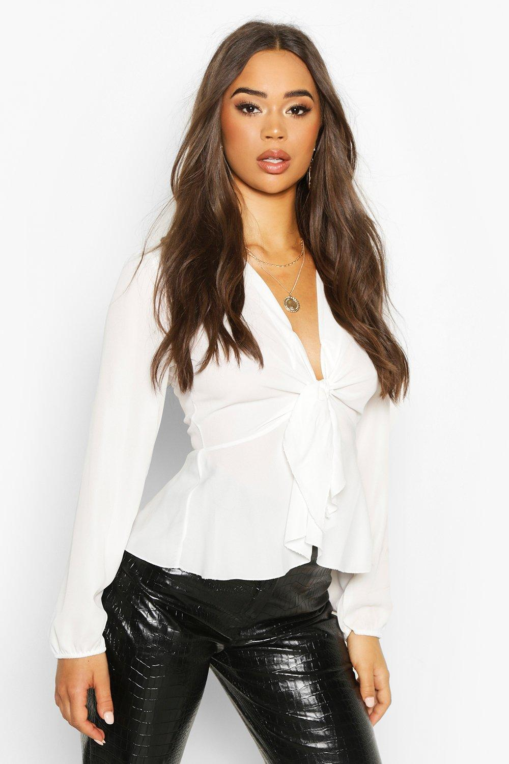 Womens Plunge Tie Front Woven Blouse - white - 32, White - Boohoo.com