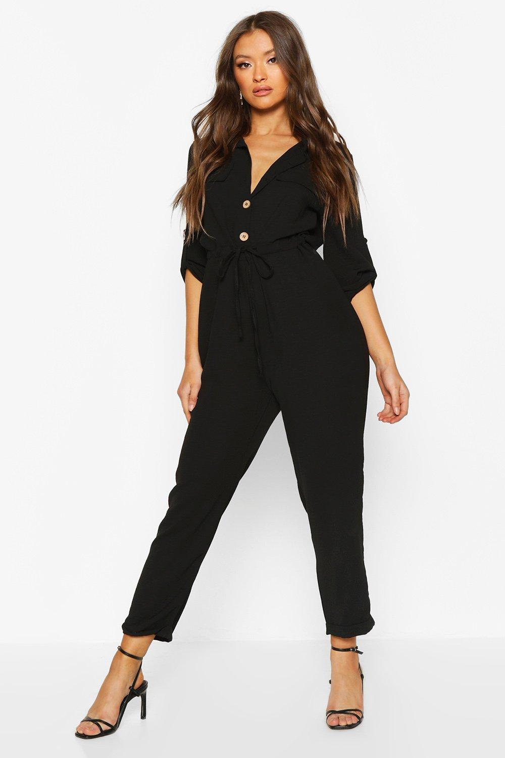 boohoo Womens Utility Button Front Boiler Suit - Black - 8, Black