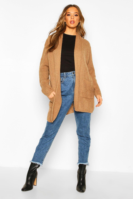 Womens Chunky Knit Maxi Cardigan - camel - S/M, Camel - Boohoo.com