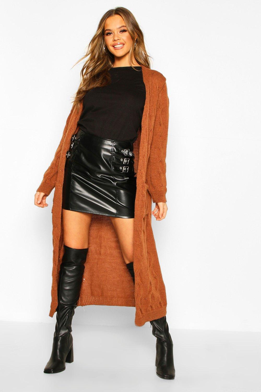 Womens Cable Knit Maxi Cardigan - camel - S/M, Camel - Boohoo.com