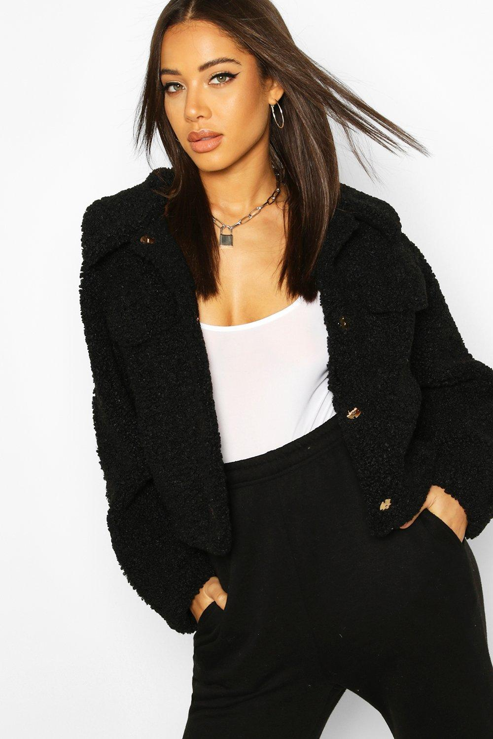 boohoo Womens Bonded Teddy Faux Fur Jacket - Black - 14, Black
