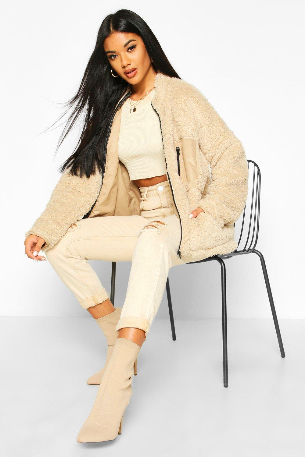 boohoo Womens Pocket Detail Teddy Jacket - Beige - 14, Beige